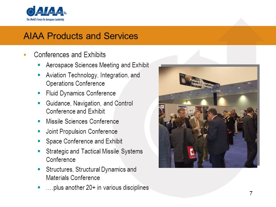7 AIAA Products and Services Conferences and Exhibits Aerospace Sciences Meeting and Exhibit Aviation Technology, Integration, and Operations Conference Fluid Dynamics Conference Guidance, Navigation, and Control Conference and Exhibit Missile Sciences Conference Joint Propulsion Conference Space Conference and Exhibit Strategic and Tactical Missile Systems Conference Structures, Structural Dynamics and Materials Conference ….plus another 20+ in various disciplines