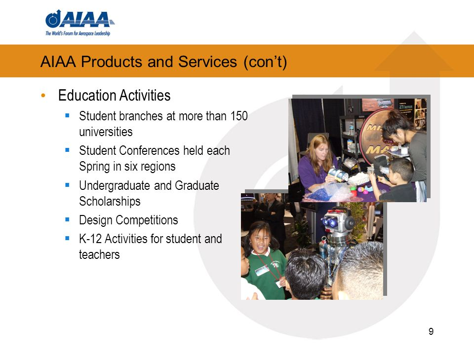 9 AIAA Products and Services (cont) Education Activities Student branches at more than 150 universities Student Conferences held each Spring in six regions Undergraduate and Graduate Scholarships Design Competitions K-12 Activities for student and teachers