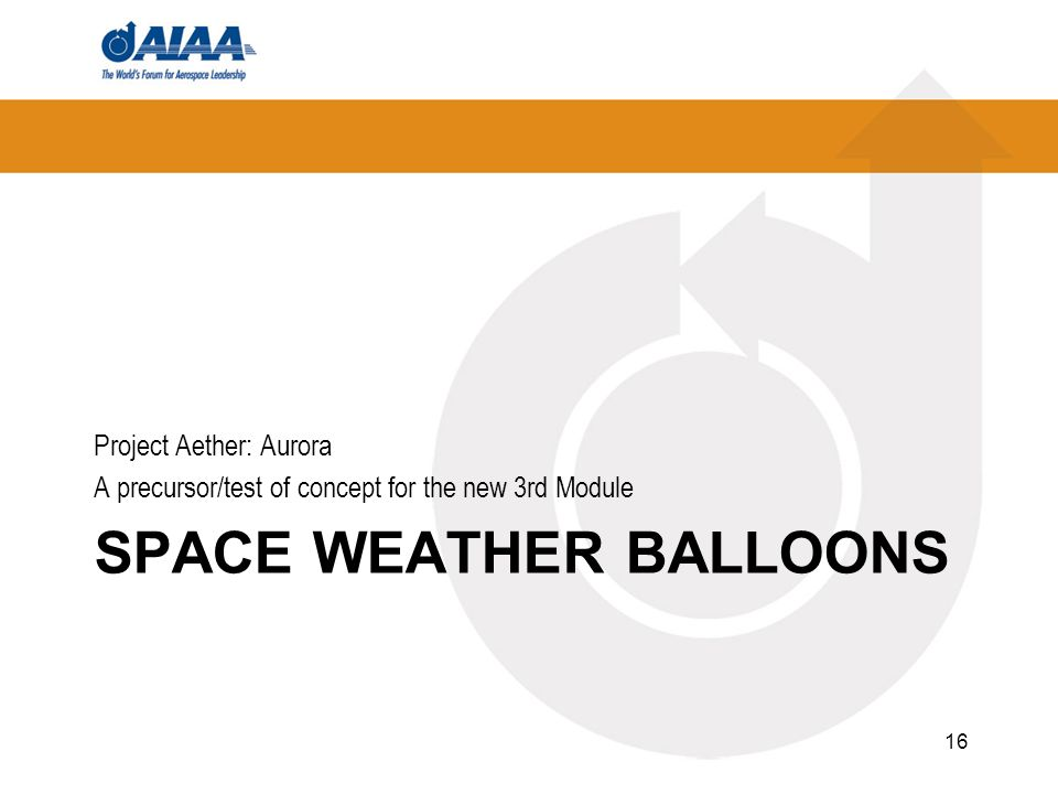 SPACE WEATHER BALLOONS Project Aether: Aurora A precursor/test of concept for the new 3rd Module 16