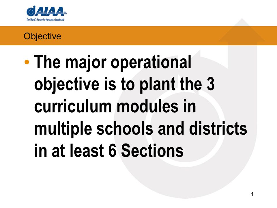 Objective The major operational objective is to plant the 3 curriculum modules in multiple schools and districts in at least 6 Sections 4