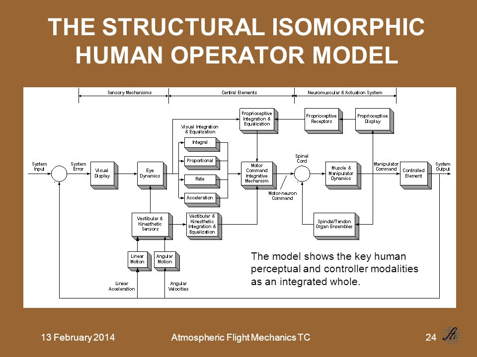 13 February 2014Atmospheric Flight Mechanics TC24 THE STRUCTURAL ISOMORPHIC HUMAN OPERATOR MODEL The model shows the key human perceptual and controll