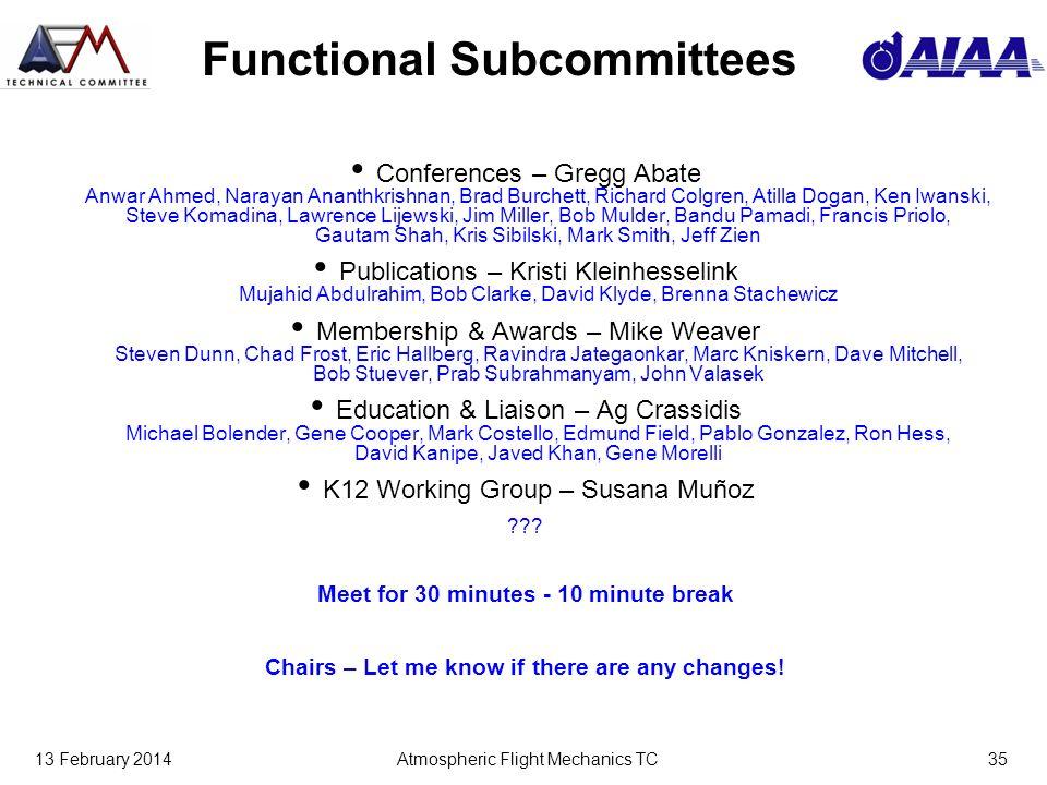 13 February 2014Atmospheric Flight Mechanics TC35 Functional Subcommittees Conferences – Gregg Abate Anwar Ahmed, Narayan Ananthkrishnan, Brad Burchet
