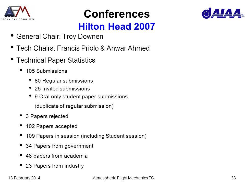 13 February 2014Atmospheric Flight Mechanics TC38 Conferences Hilton Head 2007 General Chair: Troy Downen Tech Chairs: Francis Priolo & Anwar Ahmed Te