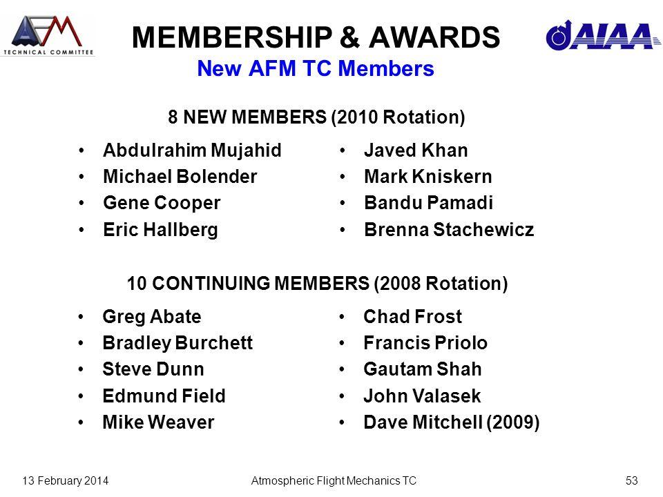 13 February 2014Atmospheric Flight Mechanics TC53 MEMBERSHIP & AWARDS New AFM TC Members Abdulrahim Mujahid Michael Bolender Gene Cooper Eric Hallberg
