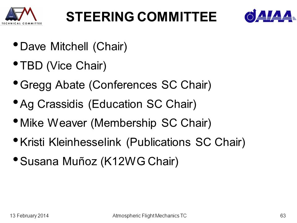 13 February 2014Atmospheric Flight Mechanics TC63 STEERING COMMITTEE Dave Mitchell (Chair) TBD (Vice Chair) Gregg Abate (Conferences SC Chair) Ag Crassidis (Education SC Chair) Mike Weaver (Membership SC Chair) Kristi Kleinhesselink (Publications SC Chair) Susana Muñoz (K12WG Chair)