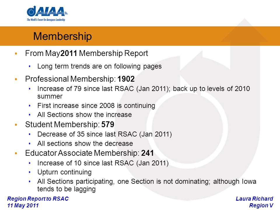Laura Richard Region V Region Report to RSAC 11 May 2011 Membership From May2011 Membership Report Long term trends are on following pages Professional Membership: 1902 Increase of 79 since last RSAC (Jan 2011); back up to levels of 2010 summer First increase since 2008 is continuing All Sections show the increase Student Membership: 579 Decrease of 35 since last RSAC (Jan 2011) All sections show the decrease Educator Associate Membership: 241 Increase of 10 since last RSAC (Jan 2011) Upturn continuing All Sections participating, one Section is not dominating; although Iowa tends to be lagging