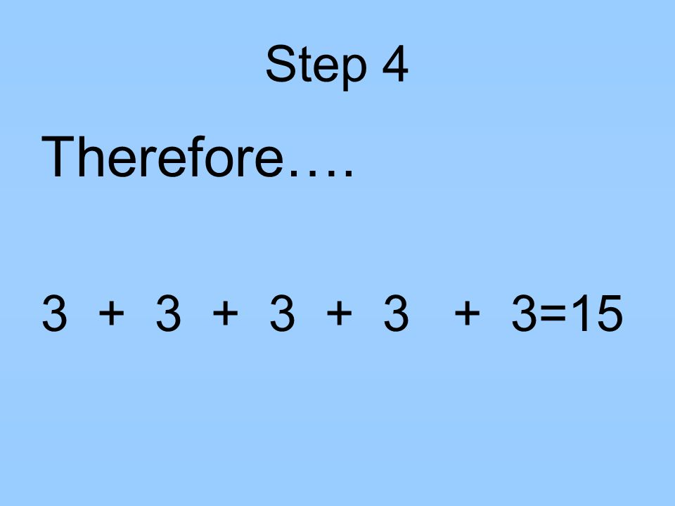 Step 4 Therefore…. 3 + 3 + 3 + 3 + 3=15