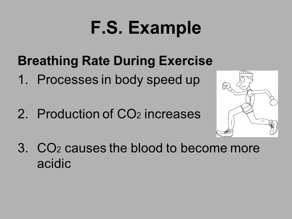 F.S. Example Breathing Rate During Exercise 1.Processes in body speed up 2.Production of CO 2 increases 3.CO 2 causes the blood to become more acidic