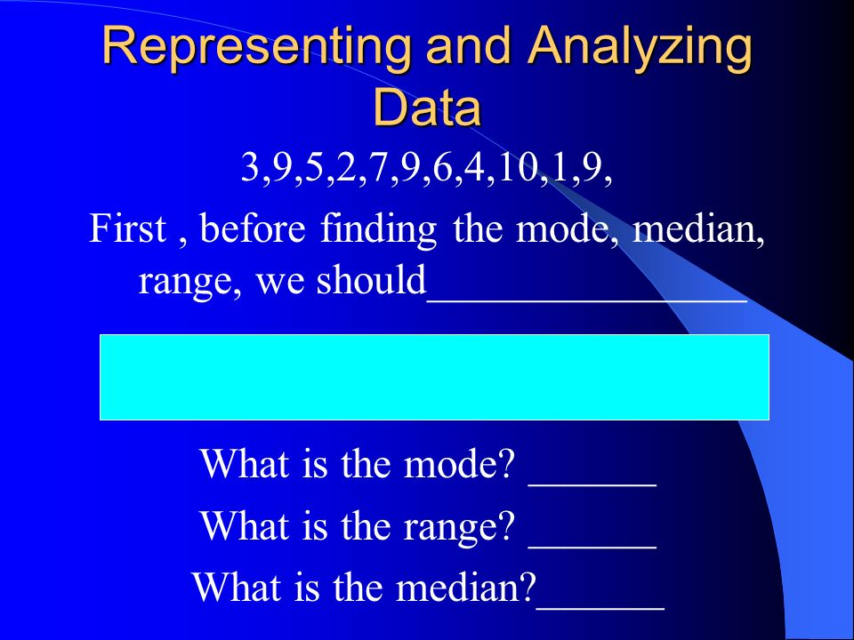 Representing and Analyzing Data 3,9,5,2,7,9,6,4,10,1,9, First, before finding the mode, median, range, we should_______________ What is the mode.