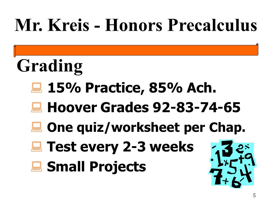 Mr. Kreis - Honors Precalculus 5 Grading : 15% Practice, 85% Ach.