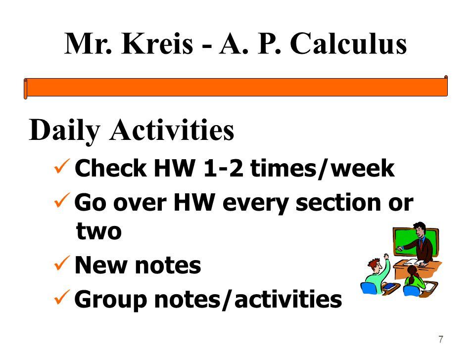 Mr.Kreis - A. P. Calculus 8 Miscellaneous àAssignment Sheets àAc.