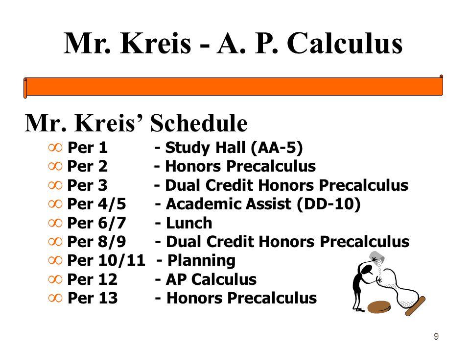 Mr. Kreis - A. P. Calculus 9 Mr. Kreis Schedule Per 1 - Study Hall (AA-5) Per 2 - Honors Precalculus Per 3 - Dual Credit Honors Precalculus Per 4/5 -