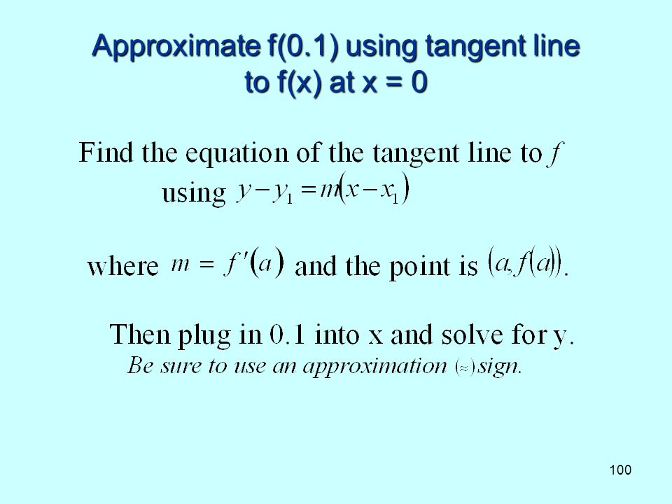 100 Approximate f(0.1) using tangent line to f(x) at x = 0