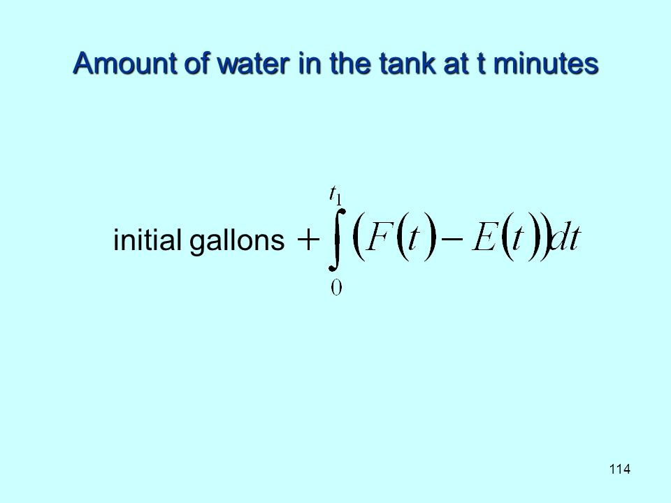 114 Amount of water in the tank at t minutes initial gallons