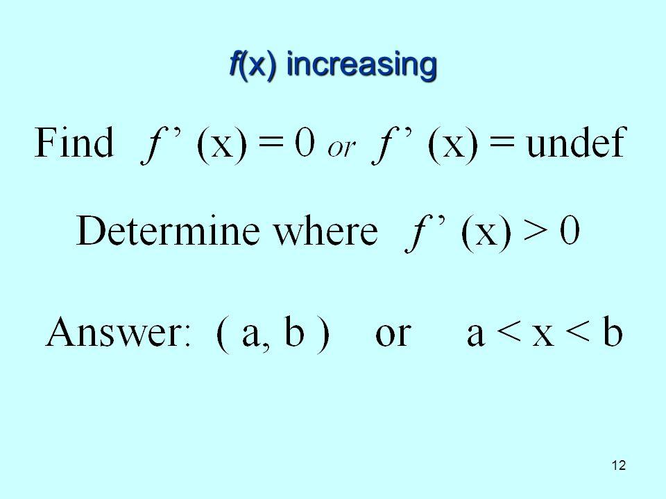 12 f(x) increasing