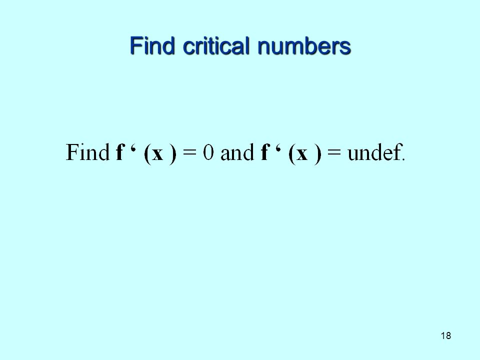18 Find critical numbers