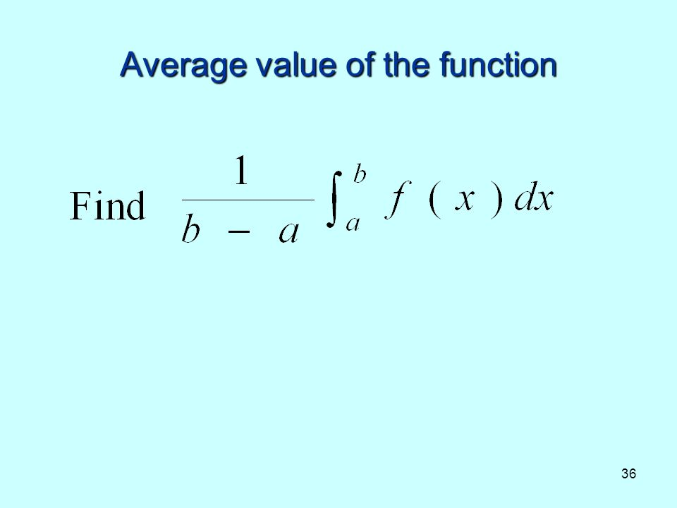 36 Average value of the function
