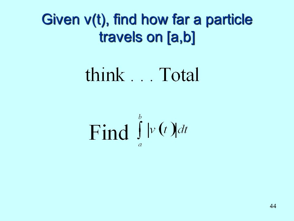 44 Given v(t), find how far a particle travels on [a,b]