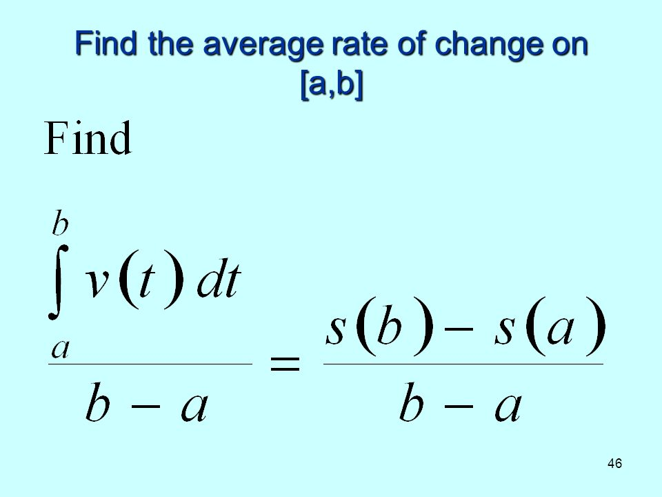 46 Find the average rate of change on [a,b]
