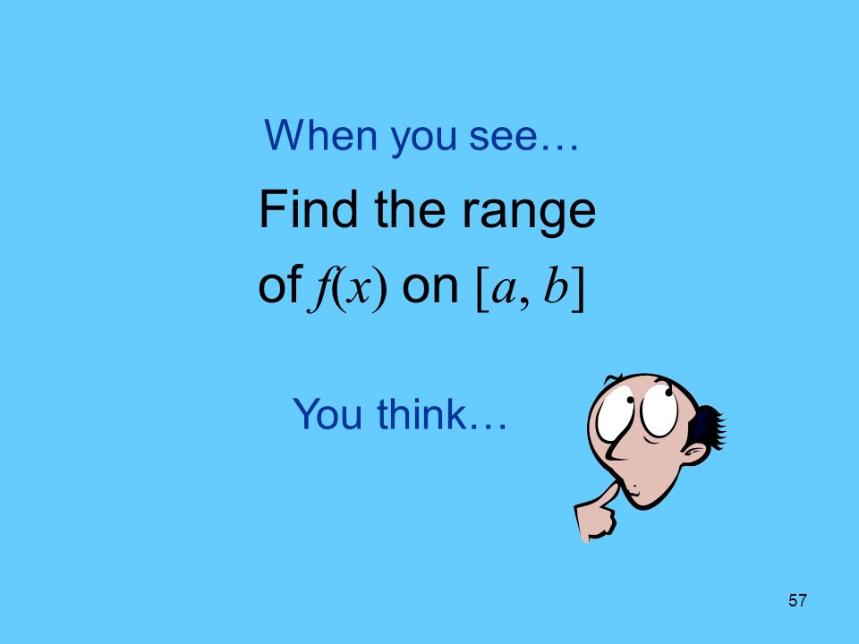 57 You think… When you see… Find the range of f(x) on [a, b]