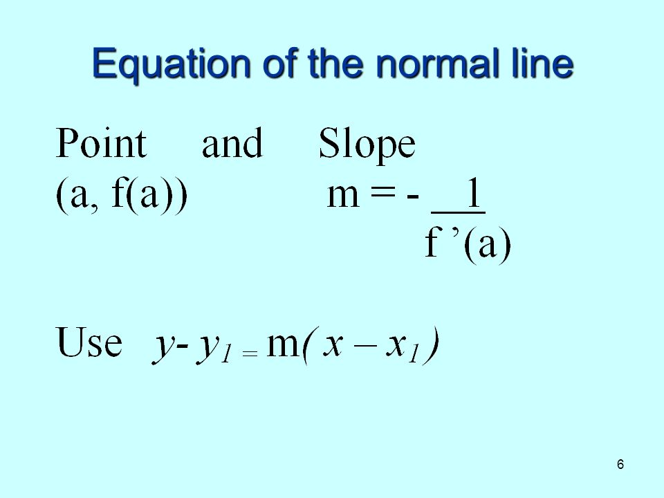 6 Equation of the normal line