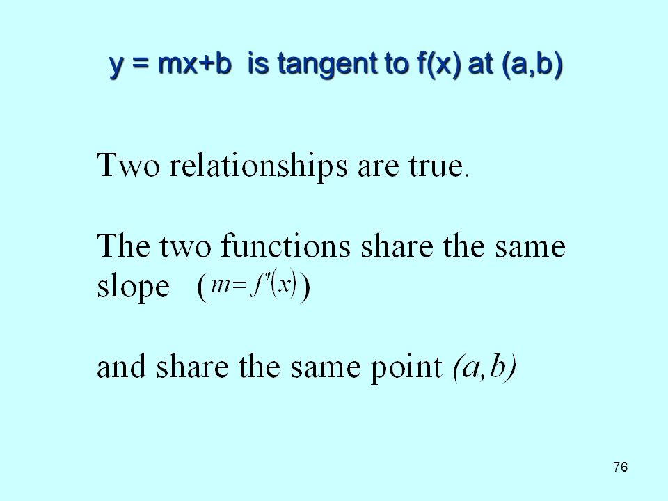 76 y = mx+b is tangent to f(x) at (a,b). y = mx+b is tangent to f(x) at (a,b)