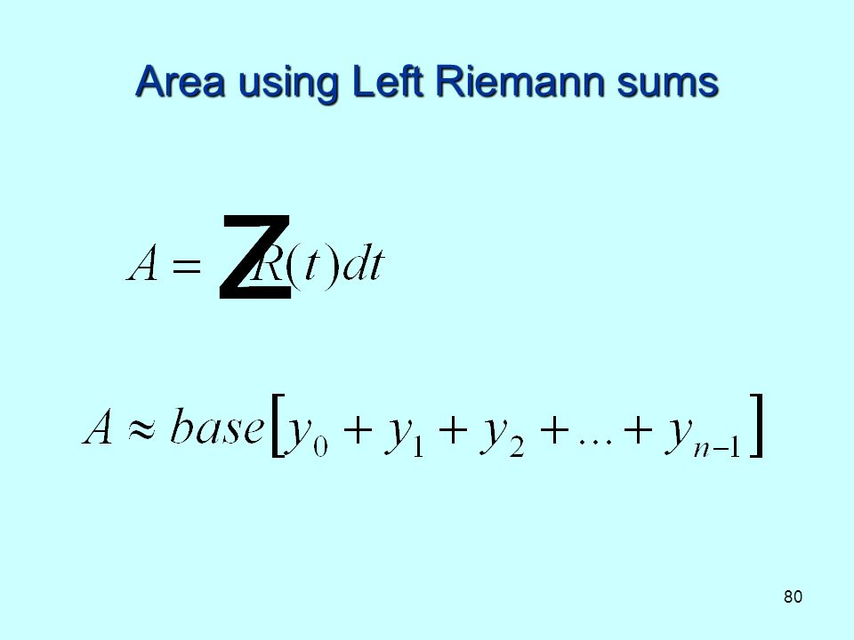 80 Area using Left Riemann sums