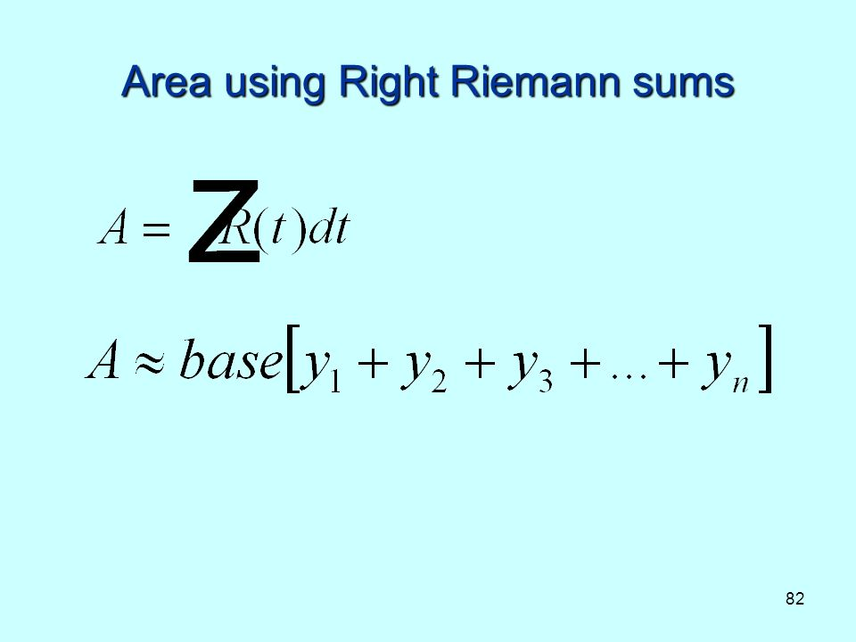 82 Area using Right Riemann sums