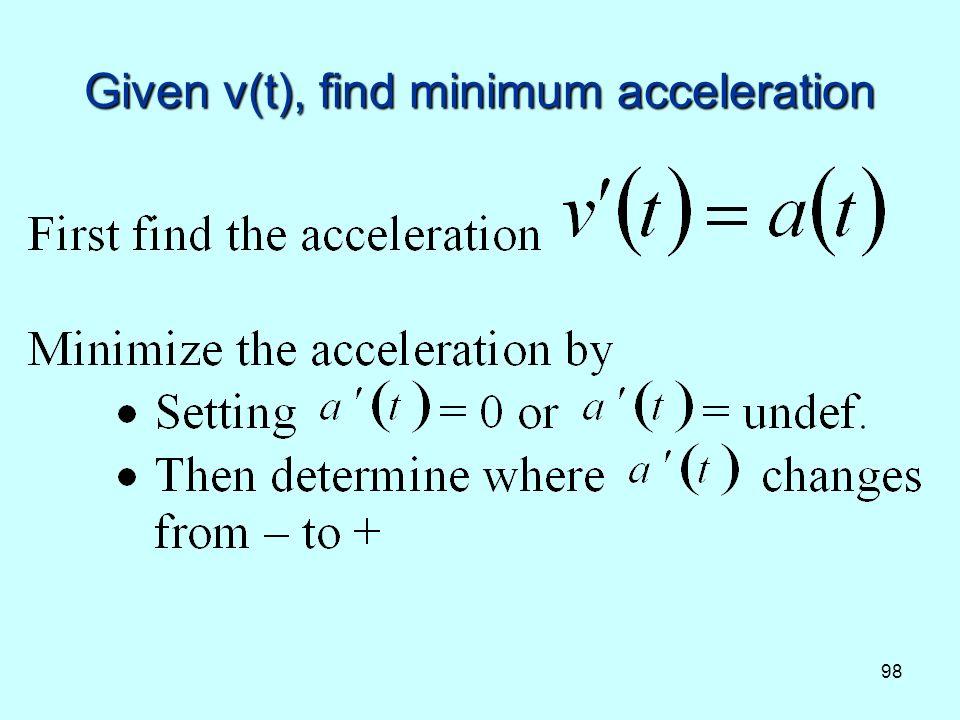 98 Given v(t), find minimum acceleration