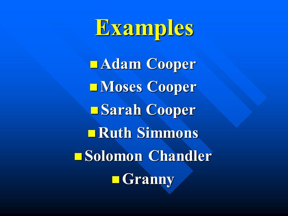 Examples Adam Cooper Adam Cooper Moses Cooper Moses Cooper Sarah Cooper Sarah Cooper Ruth Simmons Ruth Simmons Solomon Chandler Solomon Chandler Granny Granny