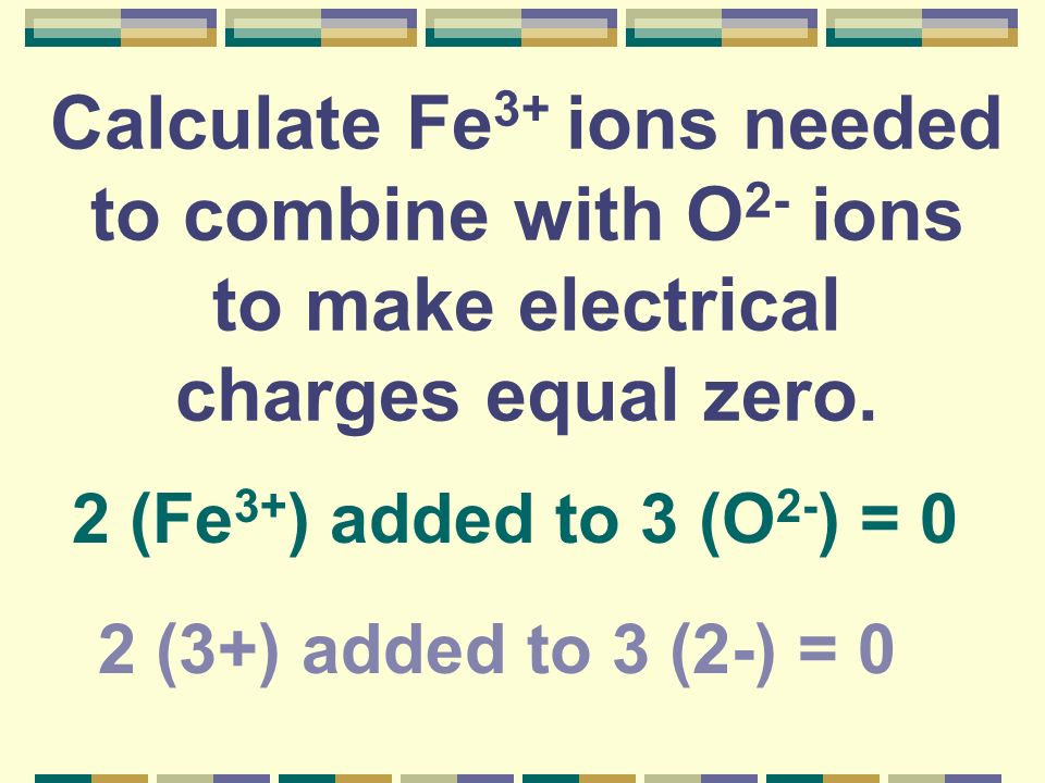 Calculate Fe 3+ ions needed to combine with O 2- ions to make electrical charges equal zero. 2 (3+) added to 3 (2-) = 0 2 (Fe 3+ ) added to 3 (O 2- )