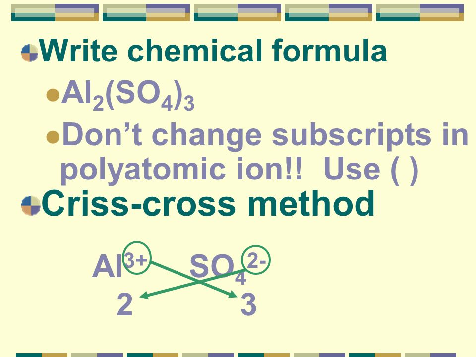 Write chemical formula Al 2 (SO 4 ) 3 Dont change subscripts in polyatomic ion!! Use ( ) Criss-cross method Al 3+ SO 4 2- 2 3