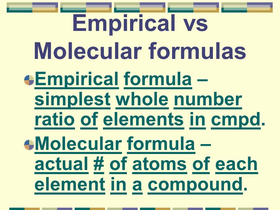 Empirical vs Molecular formulas Empirical formula – simplest whole number ratio of elements in cmpd.