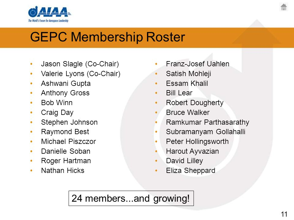 11 GEPC Membership Roster Jason Slagle (Co-Chair) Valerie Lyons (Co-Chair) Ashwani Gupta Anthony Gross Bob Winn Craig Day Stephen Johnson Raymond Best Michael Piszczor Danielle Soban Roger Hartman Nathan Hicks Franz-Josef Uahlen Satish Mohleji Essam Khalil Bill Lear Robert Dougherty Bruce Walker Ramkumar Parthasarathy Subramanyam Gollahalli Peter Hollingsworth Harout Ayvazian David Lilley Eliza Sheppard 24 members...and growing!