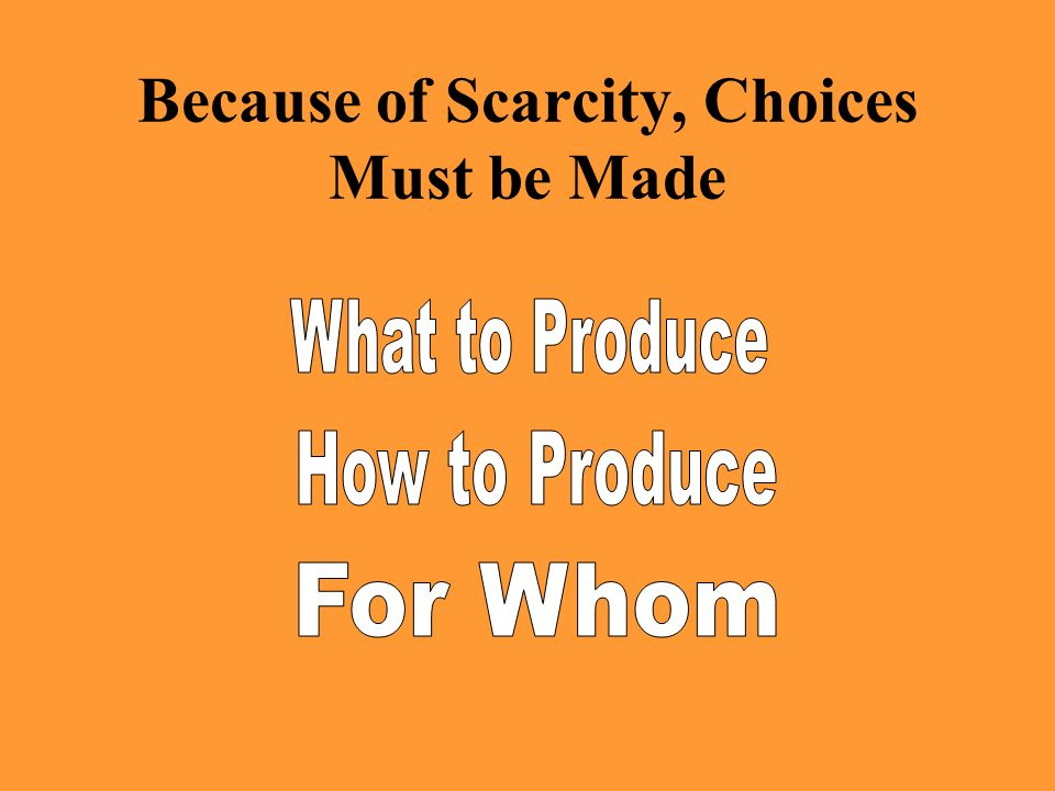 Because of Scarcity, Choices Must be Made