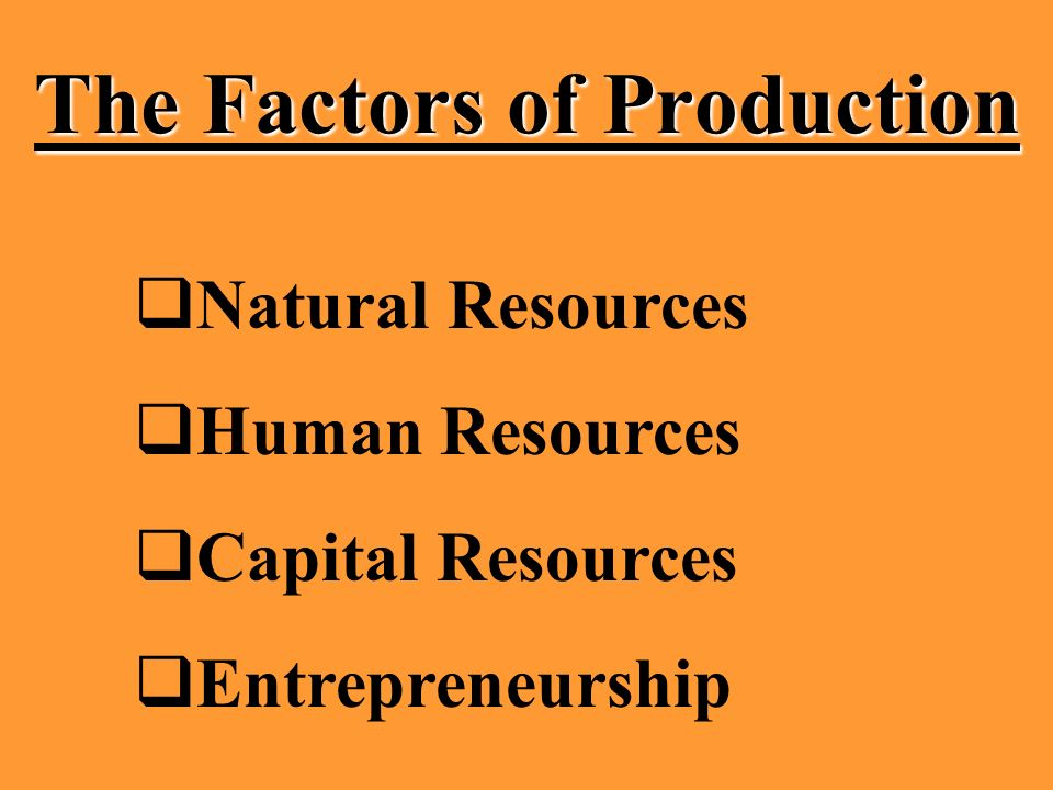 The Factors of Production Natural Resources Human Resources Capital Resources Entrepreneurship