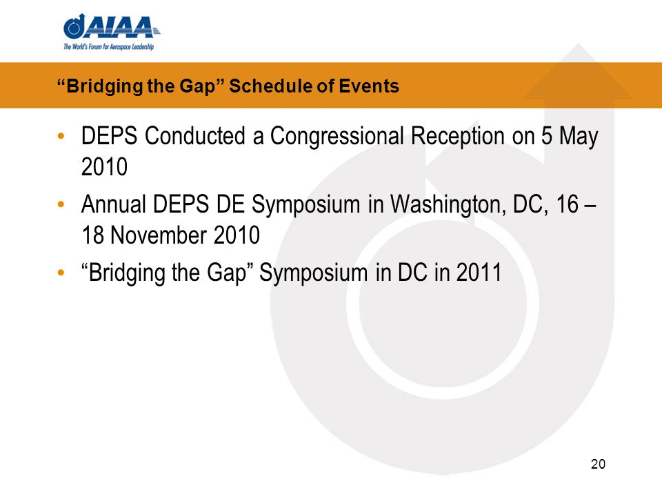 20 Bridging the Gap Schedule of Events DEPS Conducted a Congressional Reception on 5 May 2010 Annual DEPS DE Symposium in Washington, DC, 16 – 18 Nove