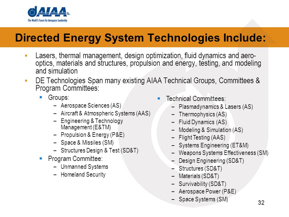 32 Directed Energy System Technologies Include: Lasers, thermal management, design optimization, fluid dynamics and aero- optics, materials and struct