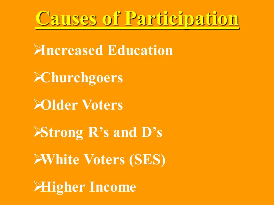 Causes of Participation Increased Education Churchgoers Older Voters Strong Rs and Ds White Voters (SES) Higher Income