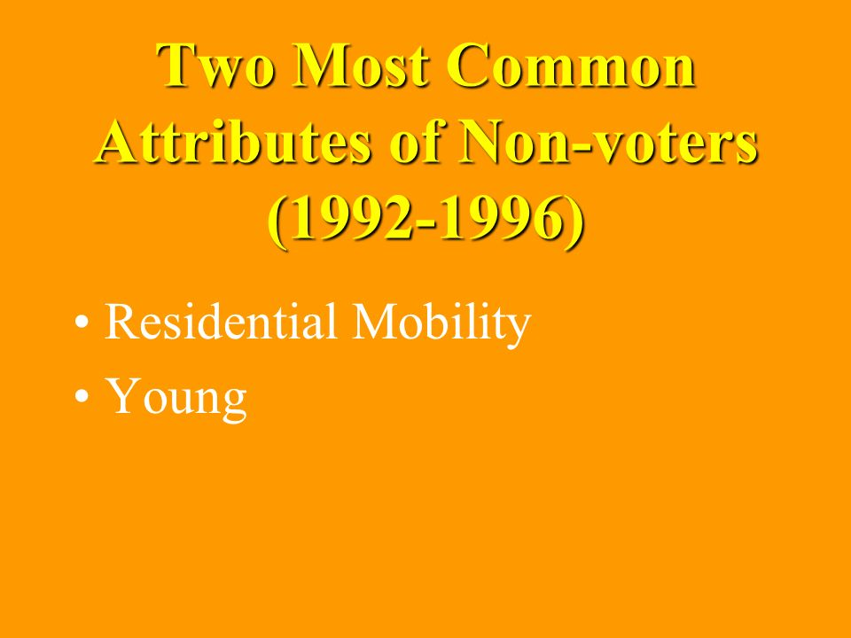 Two Most Common Attributes of Non-voters (1992-1996) Residential Mobility Young