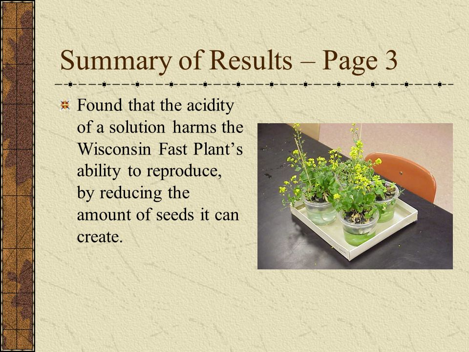 Summary of Results – Page 3 Found that the acidity of a solution harms the Wisconsin Fast Plants ability to reproduce, by reducing the amount of seeds it can create.