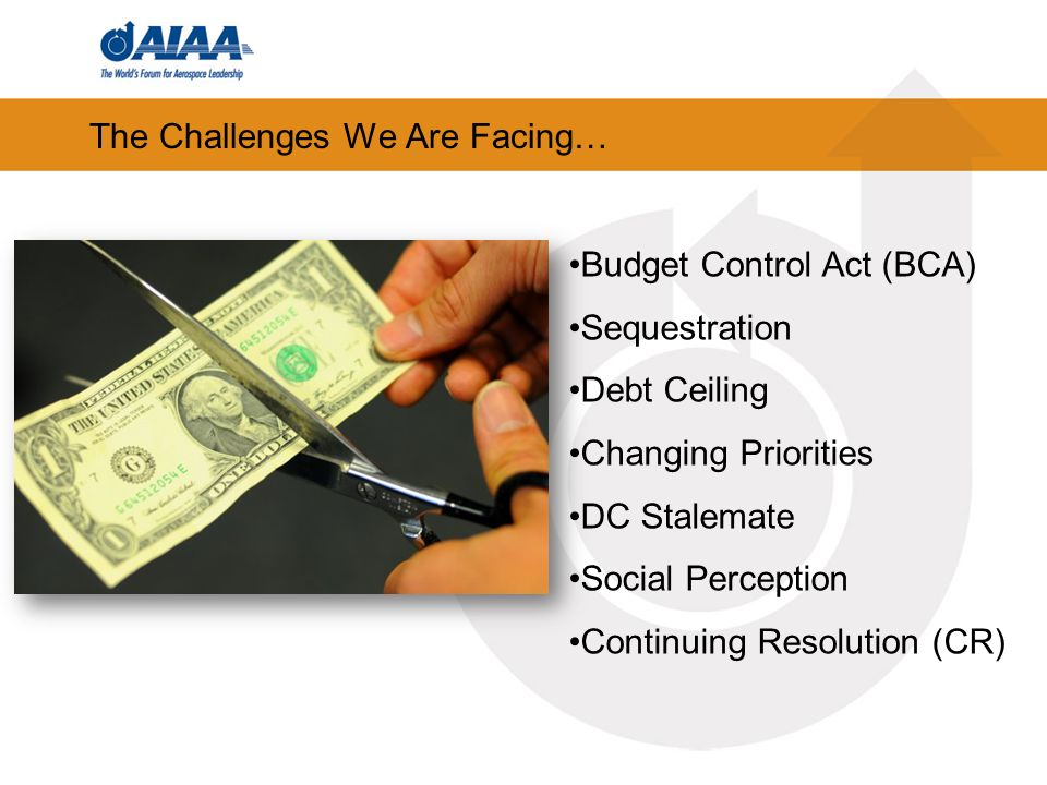 The Challenges We Are Facing… Budget Control Act (BCA) Sequestration Debt Ceiling Changing Priorities DC Stalemate Social Perception Continuing Resolution (CR)