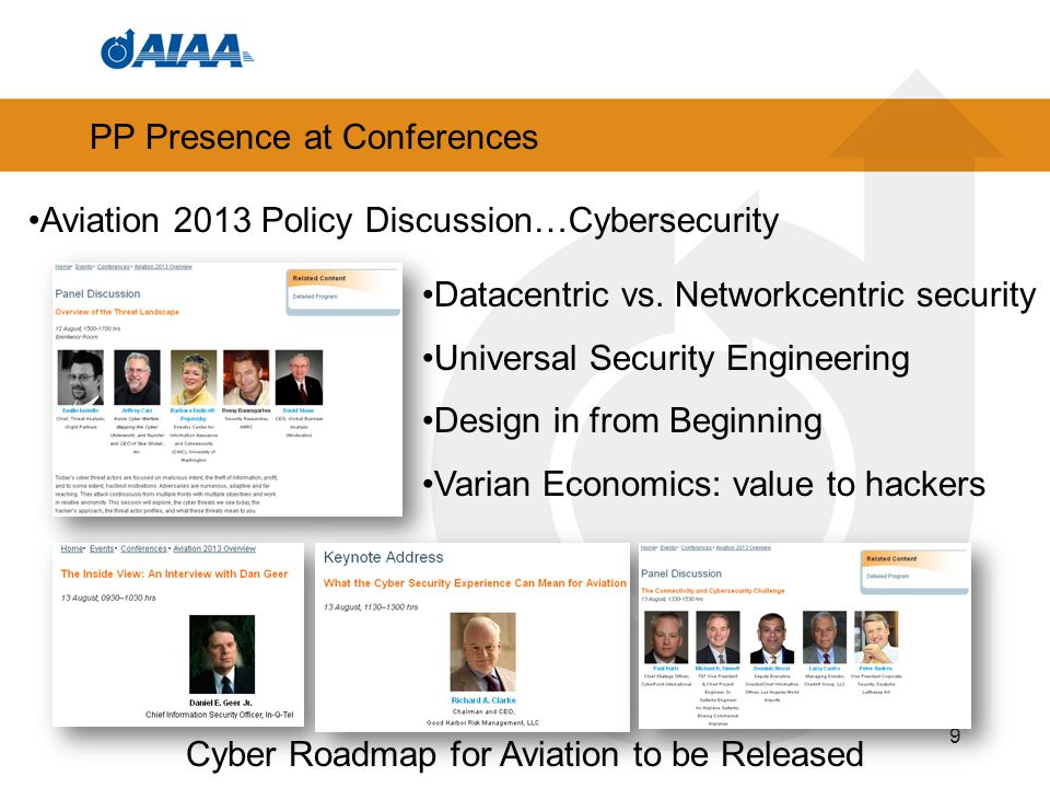 PP Presence at Conferences 9 Aviation 2013 Policy Discussion…Cybersecurity Datacentric vs.