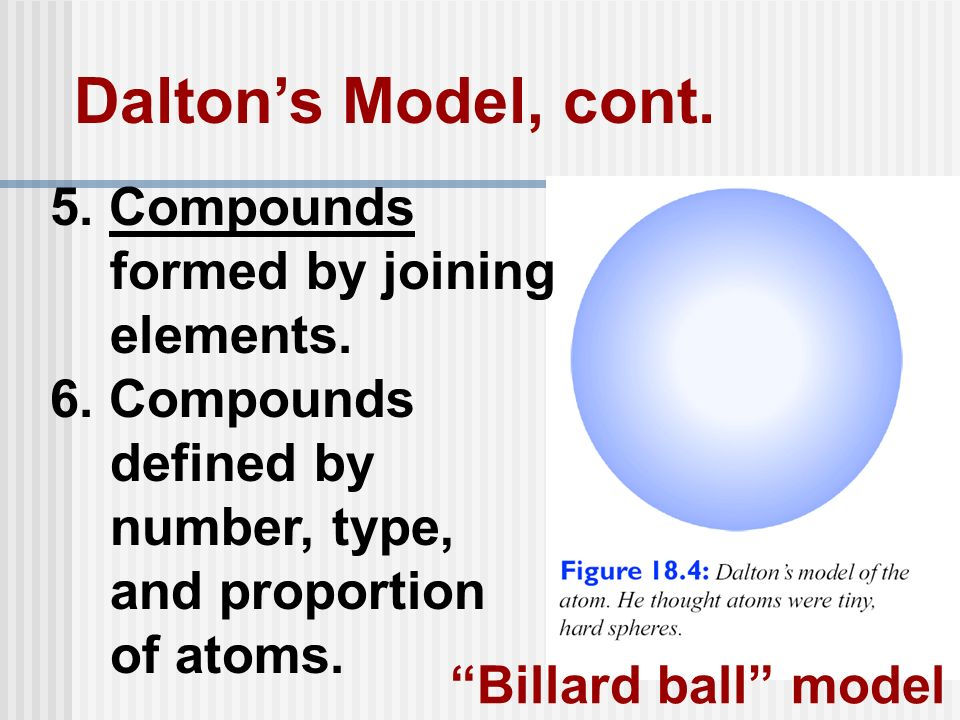 Daltons Model, cont. 5. Compounds formed by joining elements. 6. Compounds defined by number, type, and proportion of atoms. Billard ball model