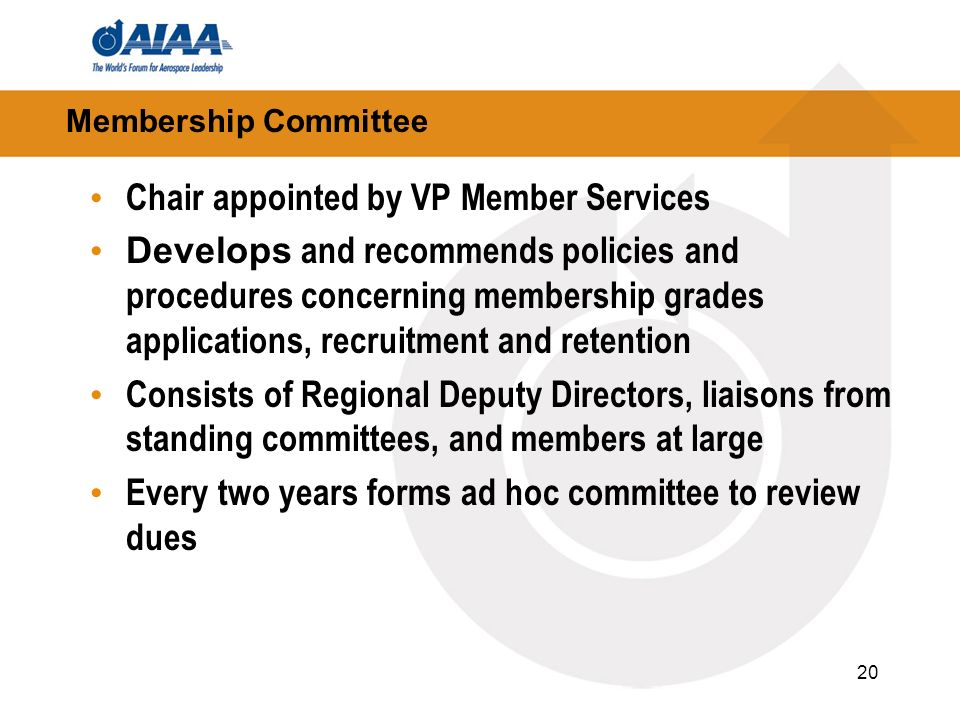 20 Membership Committee Chair appointed by VP Member Services Develops and recommends policies and procedures concerning membership grades applications, recruitment and retention Consists of Regional Deputy Directors, liaisons from standing committees, and members at large Every two years forms ad hoc committee to review dues