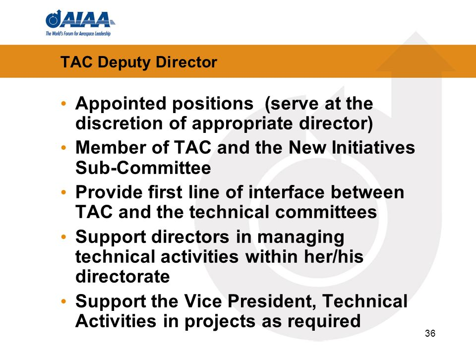 36 TAC Deputy Director Appointed positions (serve at the discretion of appropriate director) Member of TAC and the New Initiatives Sub-Committee Provi
