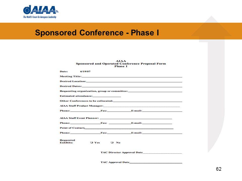 62 Sponsored Conference - Phase I
