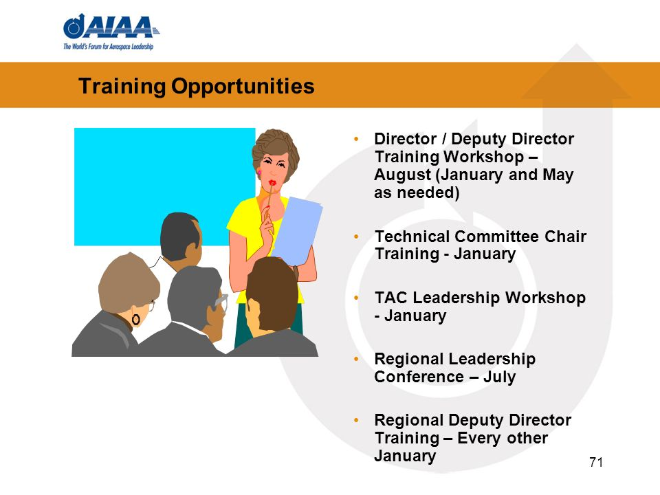71 Training Opportunities Director / Deputy Director Training Workshop – August (January and May as needed) Technical Committee Chair Training - Janua