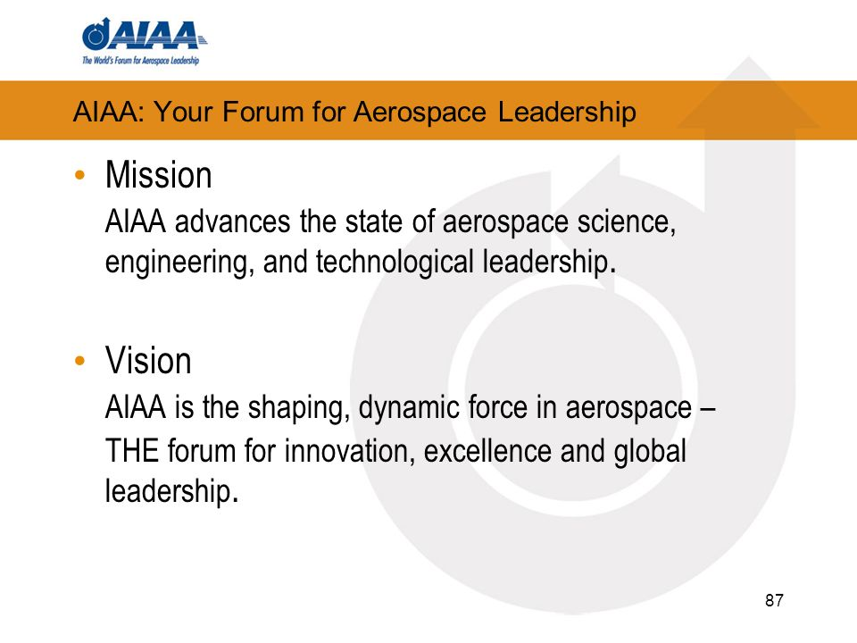87 AIAA: Your Forum for Aerospace Leadership Mission AIAA advances the state of aerospace science, engineering, and technological leadership.