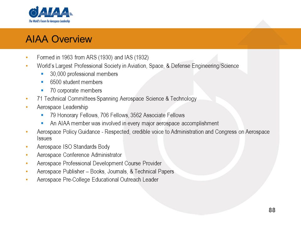 88 AIAA Overview Formed in 1963 from ARS (1930) and IAS (1932) Worlds Largest Professional Society in Aviation, Space, & Defense Engineering/Science 30,000 professional members 6500 student members 70 corporate members 71 Technical Committees Spanning Aerospace Science & Technology Aerospace Leadership 79 Honorary Fellows, 706 Fellows, 3562 Associate Fellows An AIAA member was involved in every major aerospace accomplishment Aerospace Policy Guidance - Respected, credible voice to Administration and Congress on Aerospace Issues Aerospace ISO Standards Body Aerospace Conference Administrator Aerospace Professional Development Course Provider Aerospace Publisher – Books, Journals, & Technical Papers Aerospace Pre-College Educational Outreach Leader